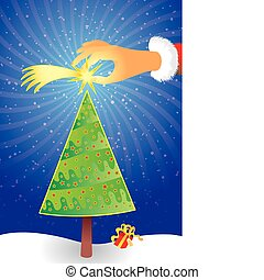 Christmas Scene - Santa claus hand put a comet star on a...
