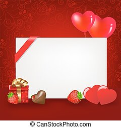 Valentines Day - 2 Hearts With Blank, Balloons, Chocolate,...