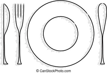 silverware and dish for logo