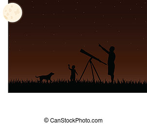 stargaze twilight - Father, child and dog watching the...