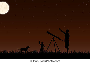 Image of a twilight scene with silhouettes and a telescope against a night sky background with moon.