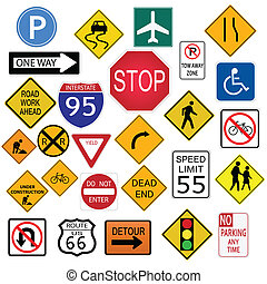 Road Signs - Image of various road signs isolated on a white...