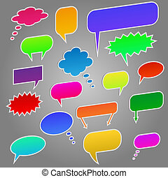 Image of colorful chat bubbles isolated on a gray background.