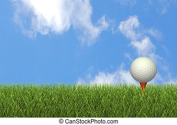 Golf Ball on Tee - Image of a golf ball on a tee against a...