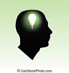 Bulb Brain - Light bulb turning on inside a head.