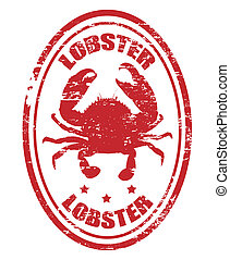 lobster stamp - Grunge rubber stamp with lobster shape, and...