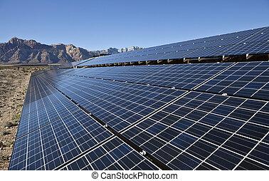 Desert Array - Mojave desert solar array at Red Rock Canyon...