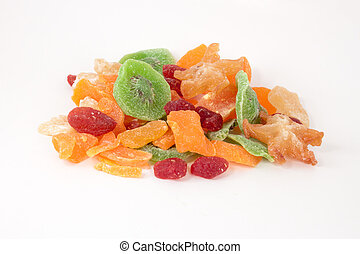 Dried fruits - Dried Summer fruits on a white background