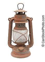 Paraffin lamp on the white background