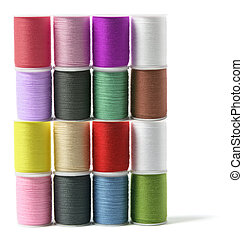 Spools of Thread on White Background