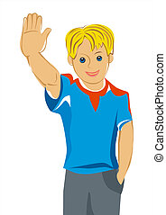 vector, teen boy with blue eyes greet you - Teen boy with...