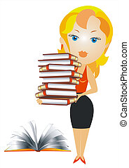 vector blonde woman with books - blonde woman in a red...