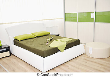 modern bedroom indoor with new furniture and home...