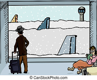Snowed In At the Airport - Scene of a man and woman at an...
