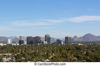 Birds eye view of Phoenix valley, AZ - Arizona capital city...