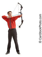 Archer - Conceptual photo of confident archer targeting at...