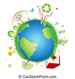 recycle globe - illustration of recycle globe on white...