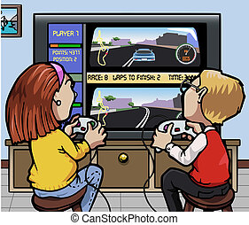Car racing videogames - Cartoon-style illustration: two kids...
