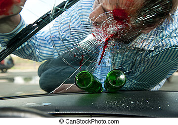 Drinking and Driving - Wounded pedestrian with his head on...