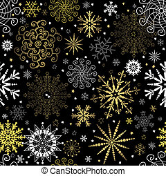 Seamless black christmas wallpaper with white and golden...