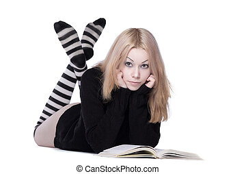 young woman lay with book