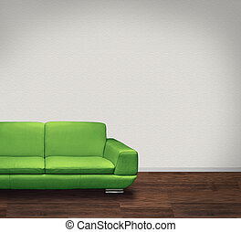 Green sofa, white wall, dark floor