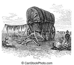 Covered Wagon - Covered wagon on the prairie. Illustration...