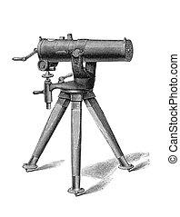 Gatling Machine Gun. Old engraving printed in January, 1880...