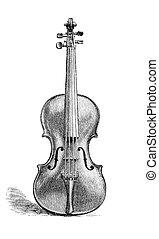 Violin - Vintage engraved illustration of a violin made by...