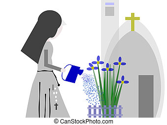 nun watering the garden