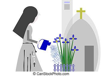 nun watering the garden