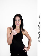 Woman showing thumbs up, positive