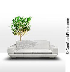 White sofa with green tree, environ - White leather sofa...
