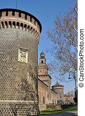 castello sforzesco, milano - main prospect of famous castle...