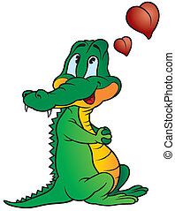 Amorous Crocodile - colored cartoon illustration, vector