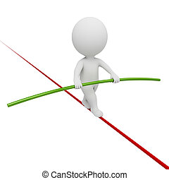 3d small people - acrobat balancing on a rope. 3d image....