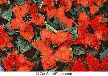 Poinsettia Flowers(Painting-Vector)