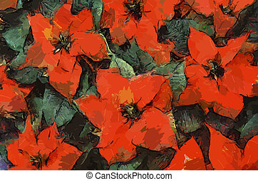 Poinsettia Flowers Painting