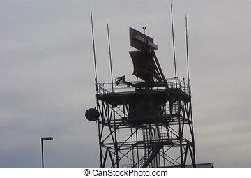 air traffic control tower - raido tower at dusk
