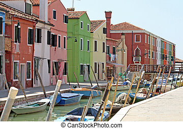 colorful houses in Burano - colorful houses on the island of...