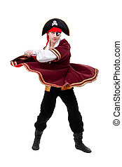 young dancer dressed as pirate seated dancing