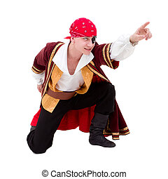 dancer dressed as pirate seated posing