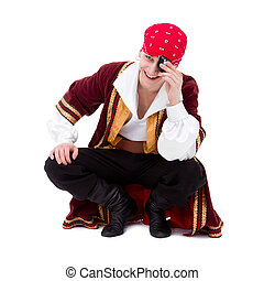 smiling dancer dressed as pirate seated sitting