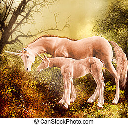 A unicorn and her foal