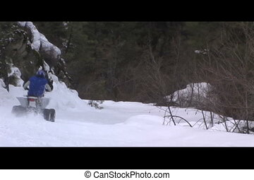Atv in snow - yamaha raptor 660 in snowy trail