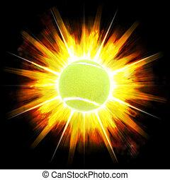 Fiery Tennis Ball - A single green tennis ball over an...