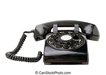 Old Black Retro Telephone - An old black vintage rotary...