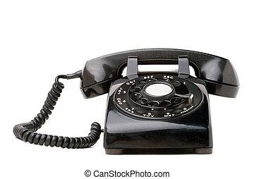 viejo, negro, Retro, teléfono
