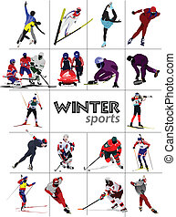 Big set of Winter sports Vector illustration
