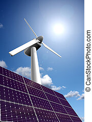 Solar and wind energy - Solar energy panel and wind power...